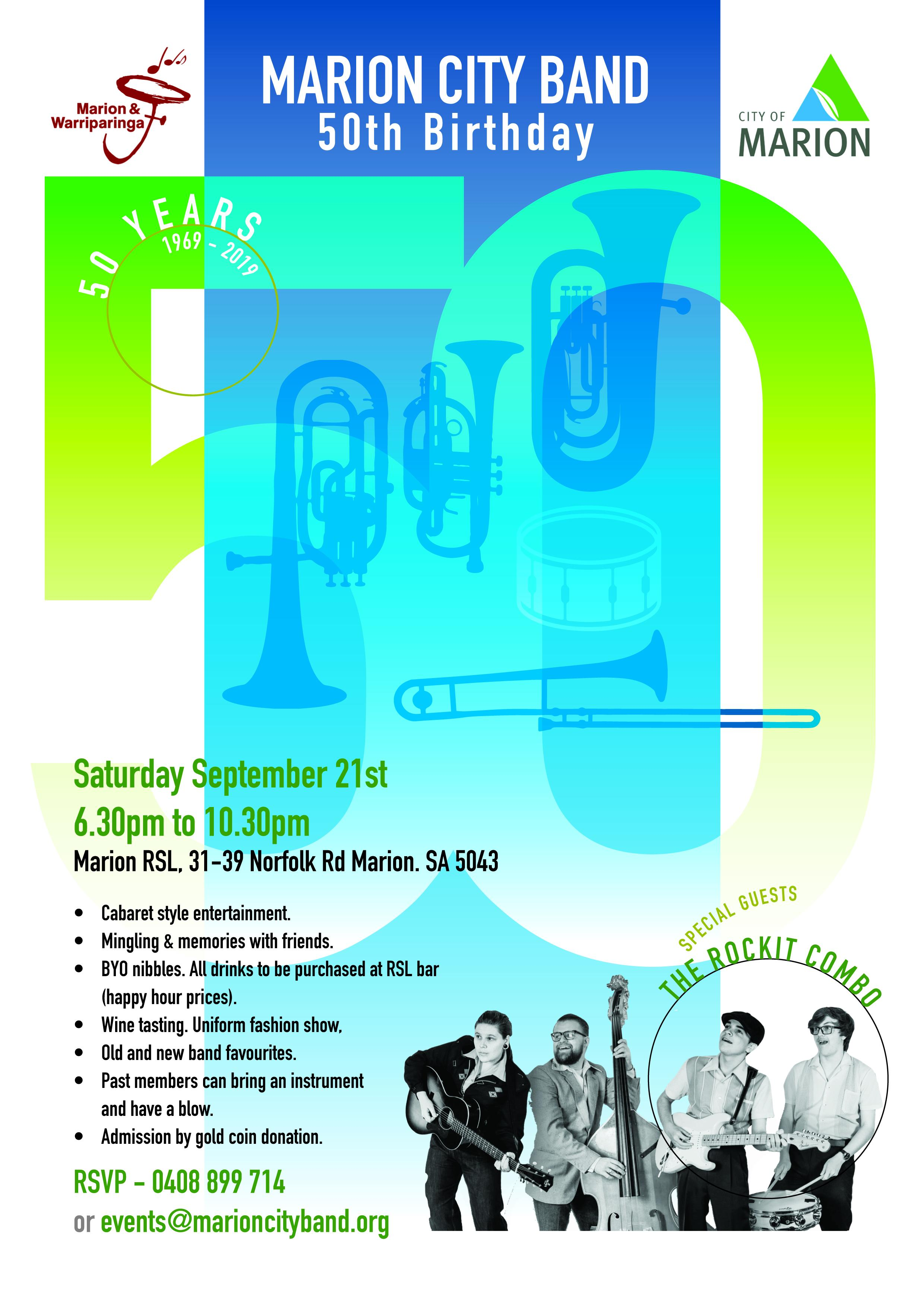 Marion City Band 50 Birthday - Saturday 21st September 6.30pm